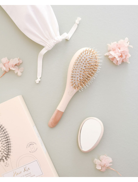 Hair Kit Nude Brush Boar and Nylon + wooden mirror + cotton pouch